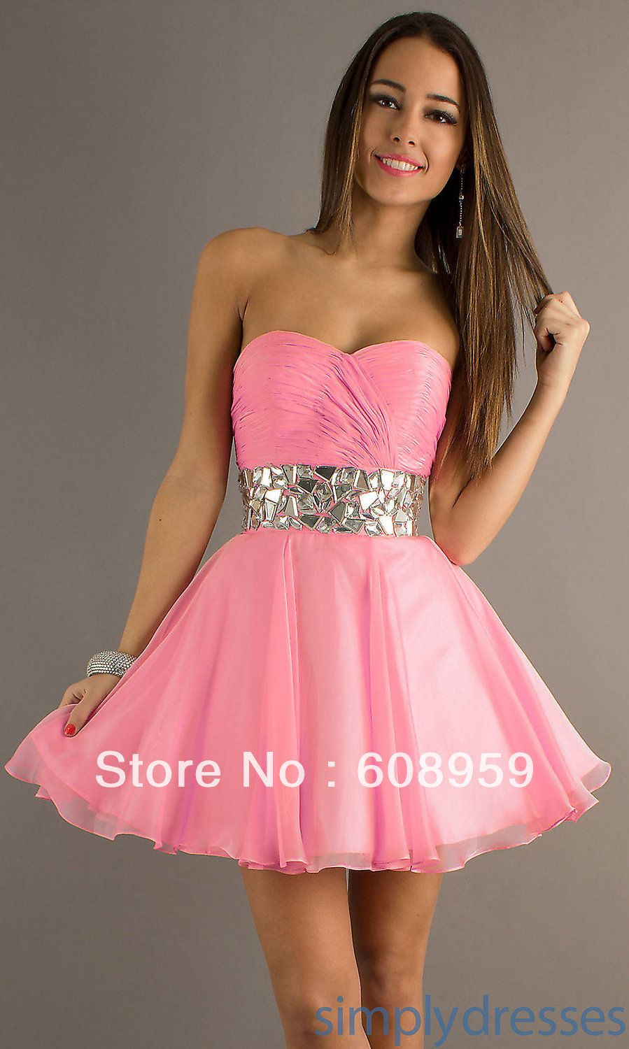 pink grad dress- not a big fan of the colour but love that style ...