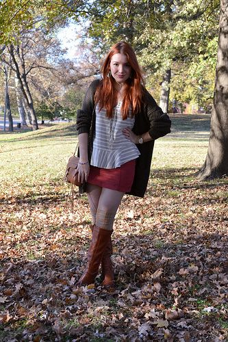 37b377d53de Fall-Outfit-Cord-Skirt-with-Thigh-High-Socks-and-Peplum-Blouse-Free ...