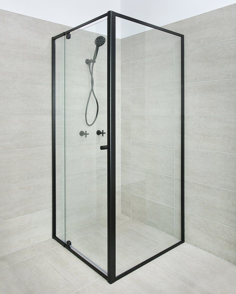 Black Framed Shower Screen 1200 Door X 900 X 1950h Mm In 2020 Shower Screen Framed Shower Main Bathroom Designs