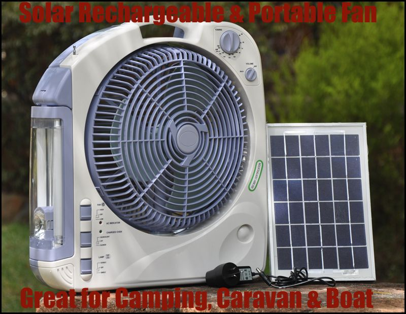 12 solar oscillating fan with radio light for camping caravan keep those chickies cool in. Black Bedroom Furniture Sets. Home Design Ideas