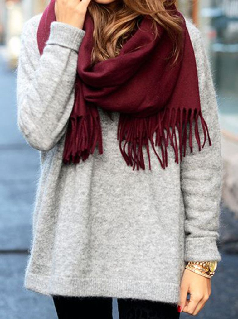 #burgundy scarf, grey oversized sweater and black leggings