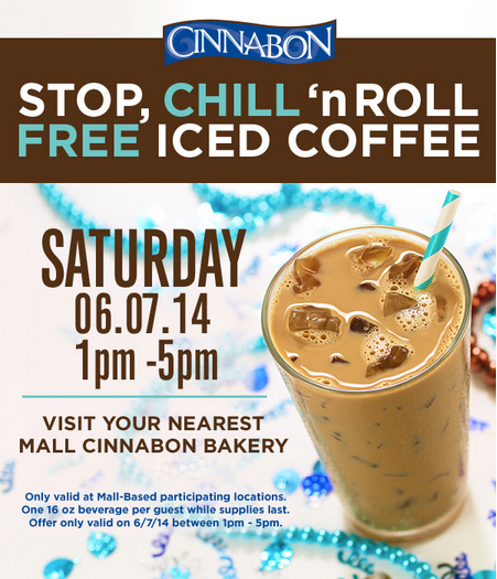 Today Only Visit Your Nearest Cinnabon Mall Sales Aholic Cinnabon Iced Coffee Hunt4freebies