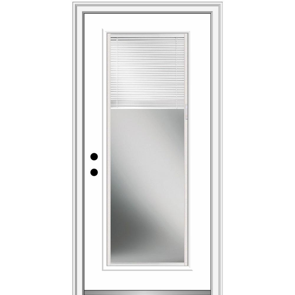 Masonite 32 In X 80 In Vista Grande Right Hand Inswing Full Lite Mini Blind Primed Smooth Fiberglass Prehung Front Do Mmi Door House Design Front Entry Doors