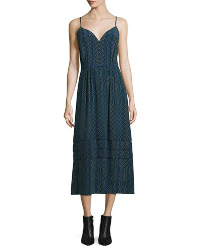 DEREK LAM Sleeveless Zigzag-Print Crepe De Chine Cami Dress, Navy. #dereklam #cloth #
