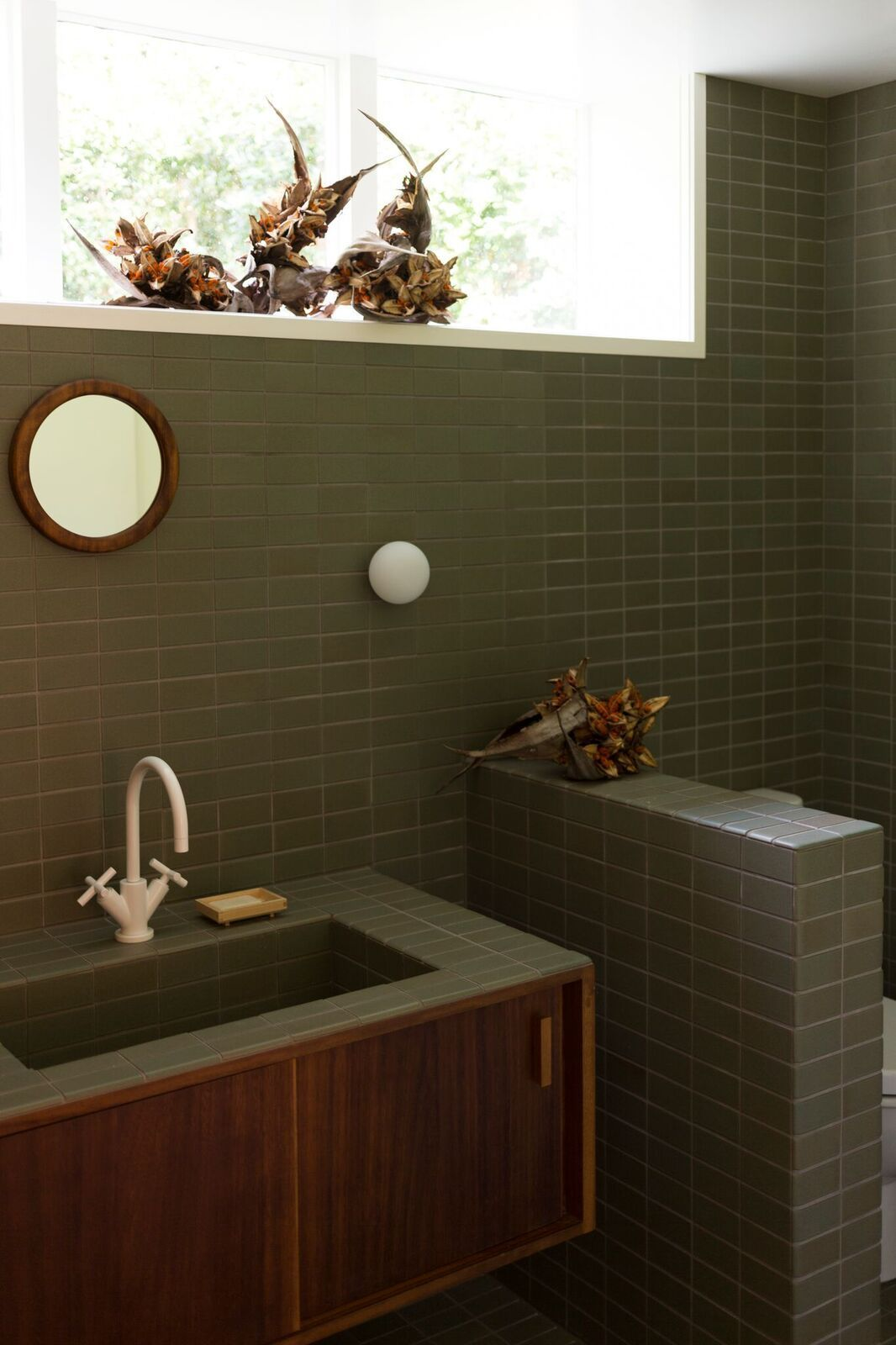 The Tile Is Heath Ceramics 2 By 4 Inch Tiles In Soapstone All Wood Elements Like The Console And M Green Tile Bathroom Green Bathroom Ceramic Tile Bathrooms