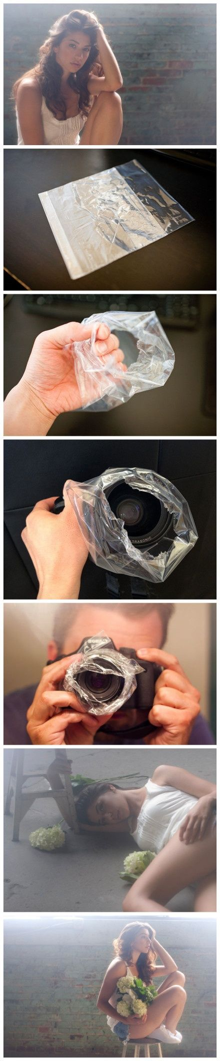 Photography Technique - plastic baggy surrounding lens to give diffuse 'dreamy' light.