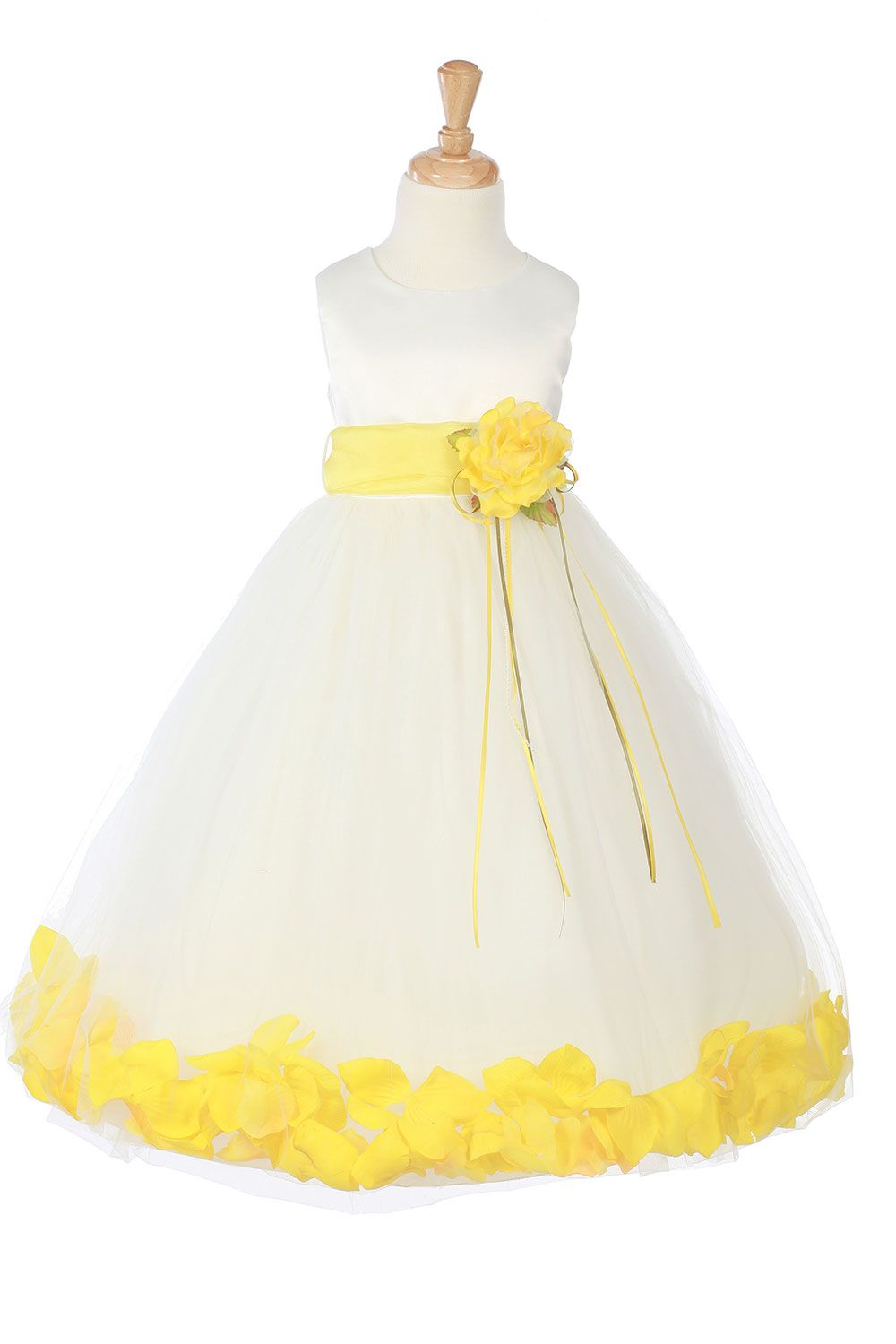21f898a25650 Ivory/Yellow Sleeveless Satin Flower Petal Flower Girl Dress with ...