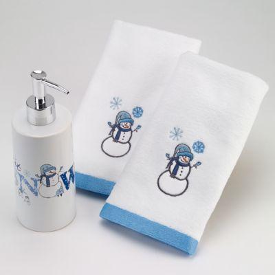 Avanti Let It Snow 3 Pc Lotion Pump And Fingertip Towel Box Set White Bath Accessories