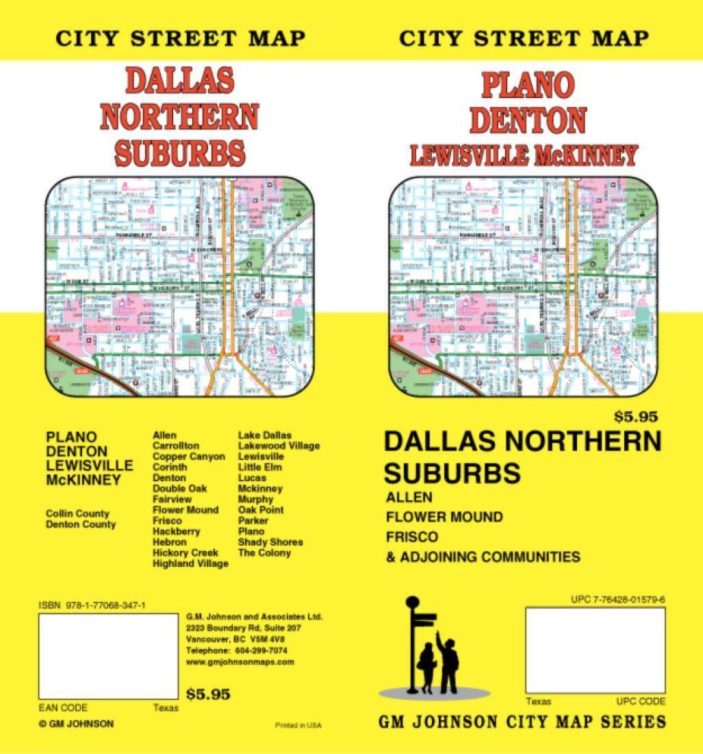 Plano Denton Lewisville And Mckinney Texas By Gm Johnson Plano Denton Street Map