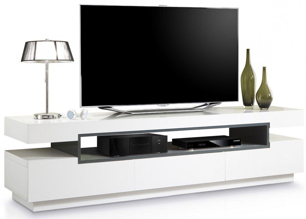 Meuble Tv Design Blanc Et Gris Fonc 3 Tiroirs Tvs