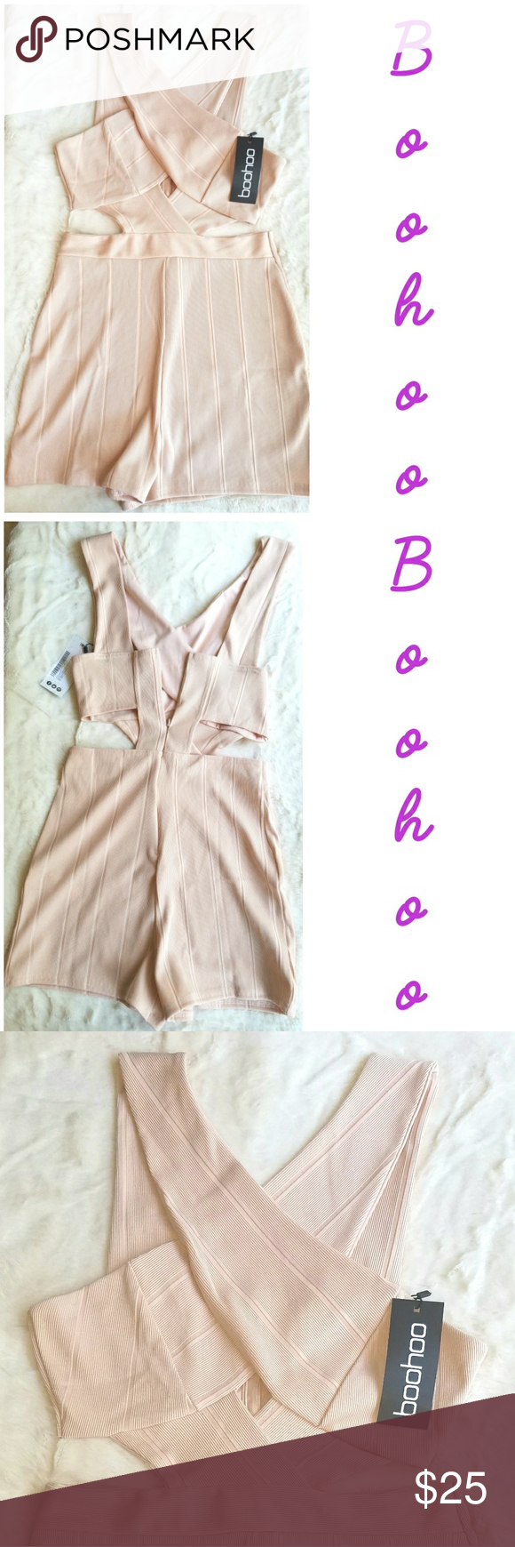 b13adb188a Boohoo Bandage Playsuit Boohoo Jenny cross front cut out side bandage  playsuit. In blush. Size 8 Boohoo Pants Jumpsuits   Rompers