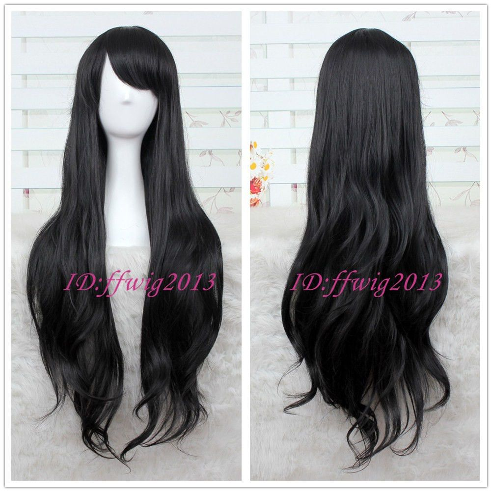 Details About Marceline Long Black Wavy Curly Cosplay Wig A Wig