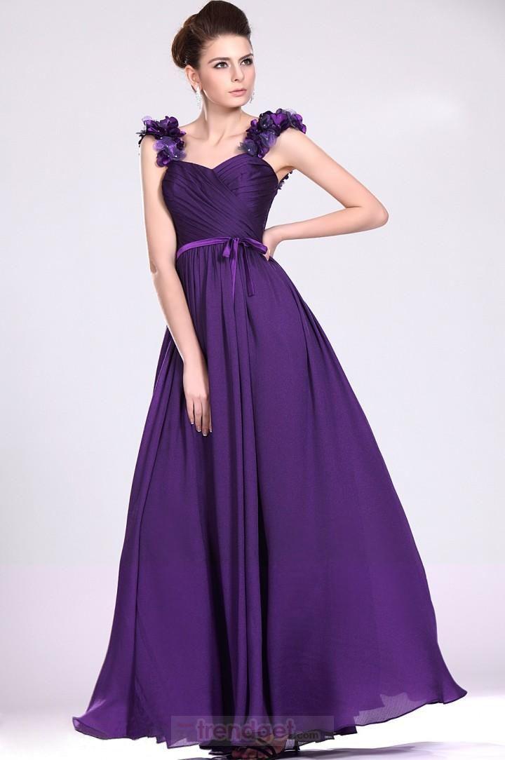 Attractive A-line Straps Floor-length Chiffon Purple Prom Dresses - $108.99 - Trendget.com
