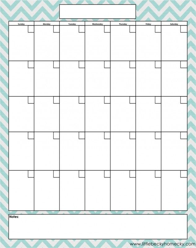 Freebie Monthly Calendar Printable  Free Organization Printables
