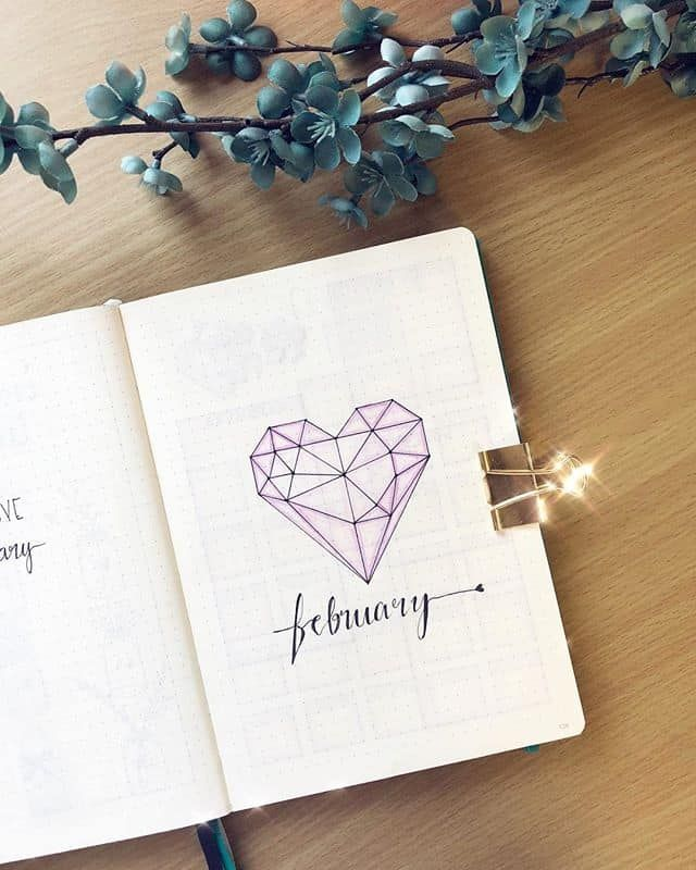 February Bullet Journal Cover Page Ideas {It's not all hearts and flowers!}