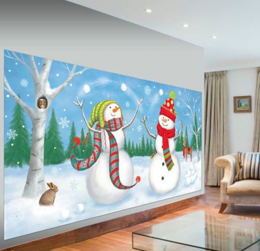 SNOWMEN decorating tree Scene Setter Christmas holiday party 5/' wall decor kit