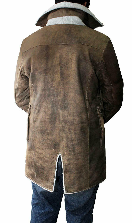 Men S Bane Coat Dark Knight Rises Swedish Bomber Leather Jacket Fur Coat Ebay Mens Shearling Bomber Jacket Leather Jacket Leather Bomber Jacket [ 1500 x 888 Pixel ]