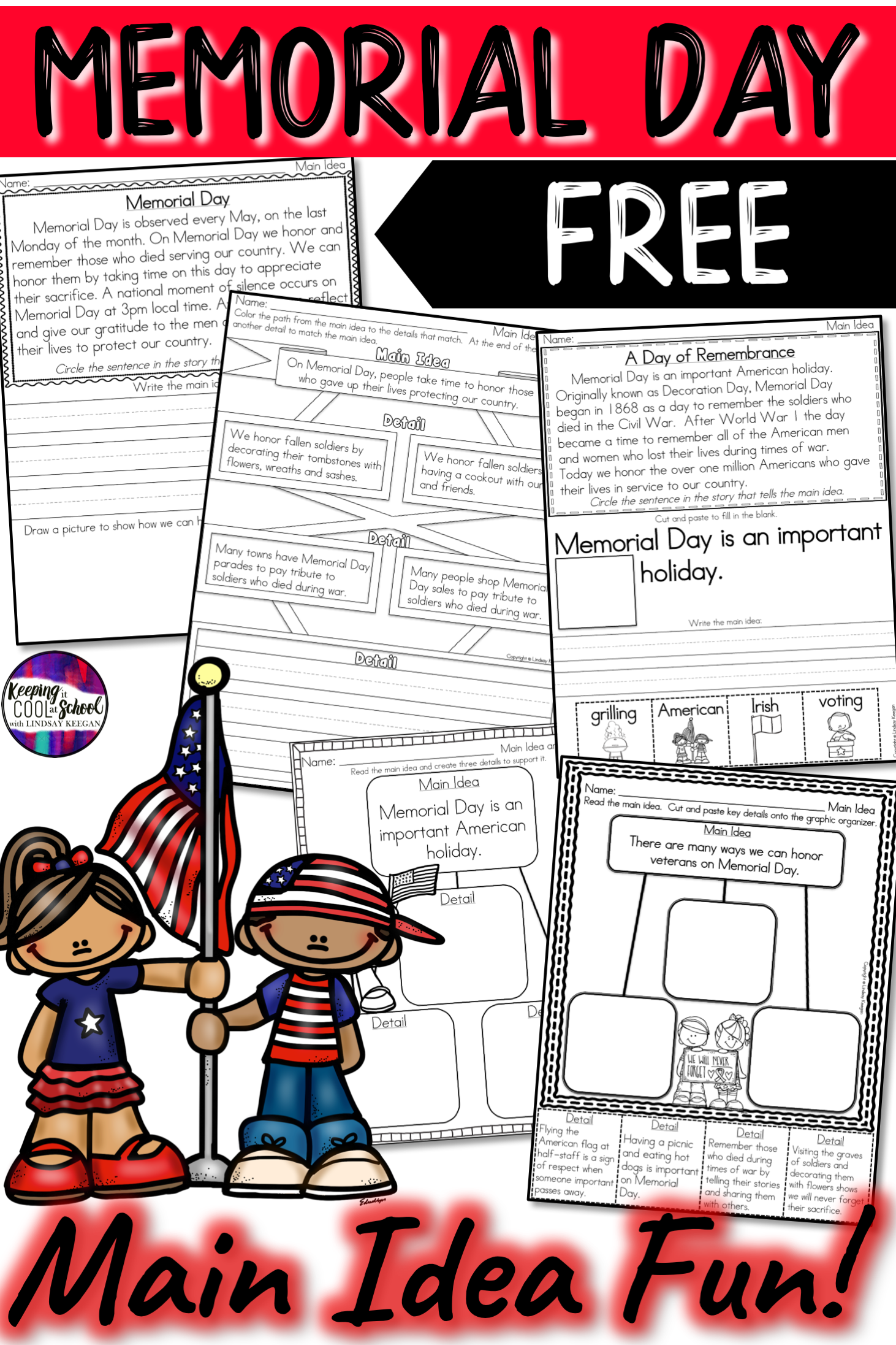 Memorial Day Main Idea And Details Activities Free