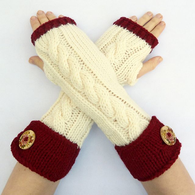 Red and cream cable knit fingerless arm warmers