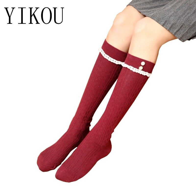 84c42f326 YIKOU Female Spring and Autumn New Cotton Buttons Tube stockings Women s  Japanese Sweet Knee stocking College Wind Pile Stocking