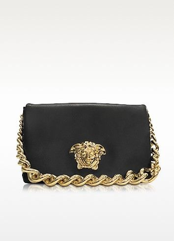 83be1472e23 VERSACE Palazzo Black Shoulder Bag W/Golden Medusa & Chain. #versace #bags #shoulder  bags #hand bags #canvas #leather #lining #