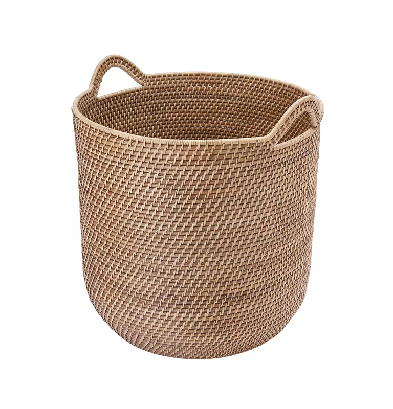Stretford Round Rattan Storage Basket With Ear Handles Reviews Allmodern Storage Baskets Rattan Basket Woven Baskets Storage