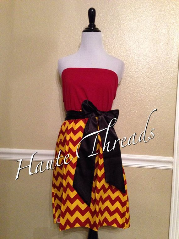 Florida State Seminoles 'Noles / USC Trojans Gameday Dress with CHEVRON skirt  by hautethreadsboutique, $50.00