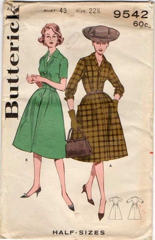 Vintage Volup Dress Pattern ~ Fitted Waist ~ Full Skirt ~ Bust 43 ...