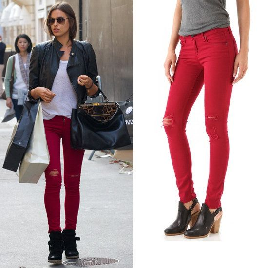 Update Your Colored Jeans With Irina Shayk's Red Shredded Jeans ...