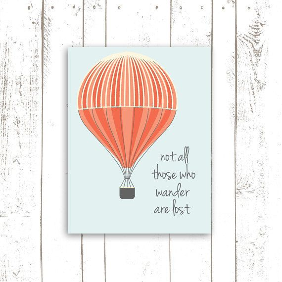 Inspirational Print Hot Air Balloon Art Print With Quote Not All