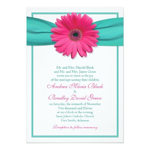 Pink Gerbera Daisy Turquoise Wedding Invitation