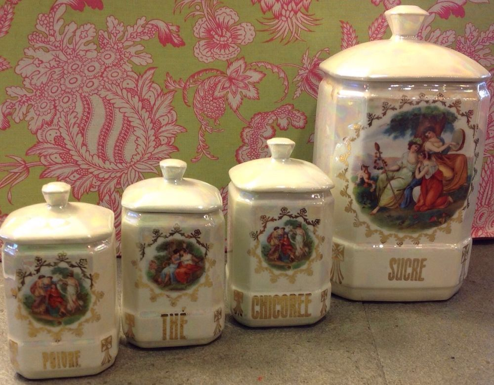 Vintage Czech (4 Pieces + Lids) French Canister Set   Toile Lusterware