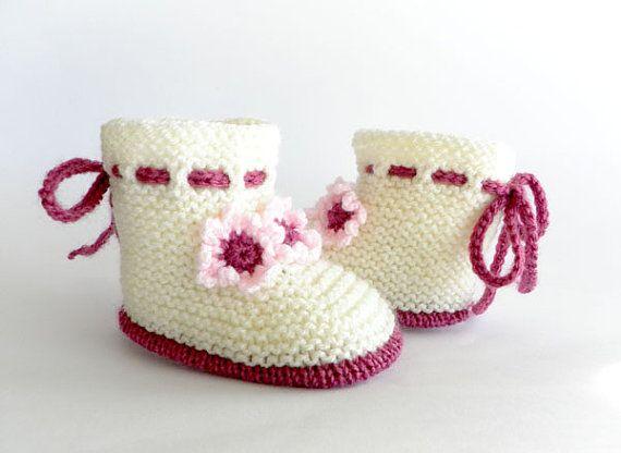 Punto botitas de bebé zapatos de bebé de por Svetlanababyknitting
