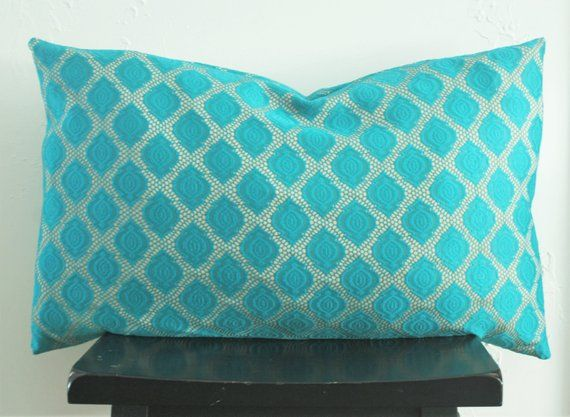 Turquoise Lace Pillow cover, 16x26 Moroccan Lumbar Pillow, Boho Bedding, Anthropologie Inspired, Turquoise Euro Sham