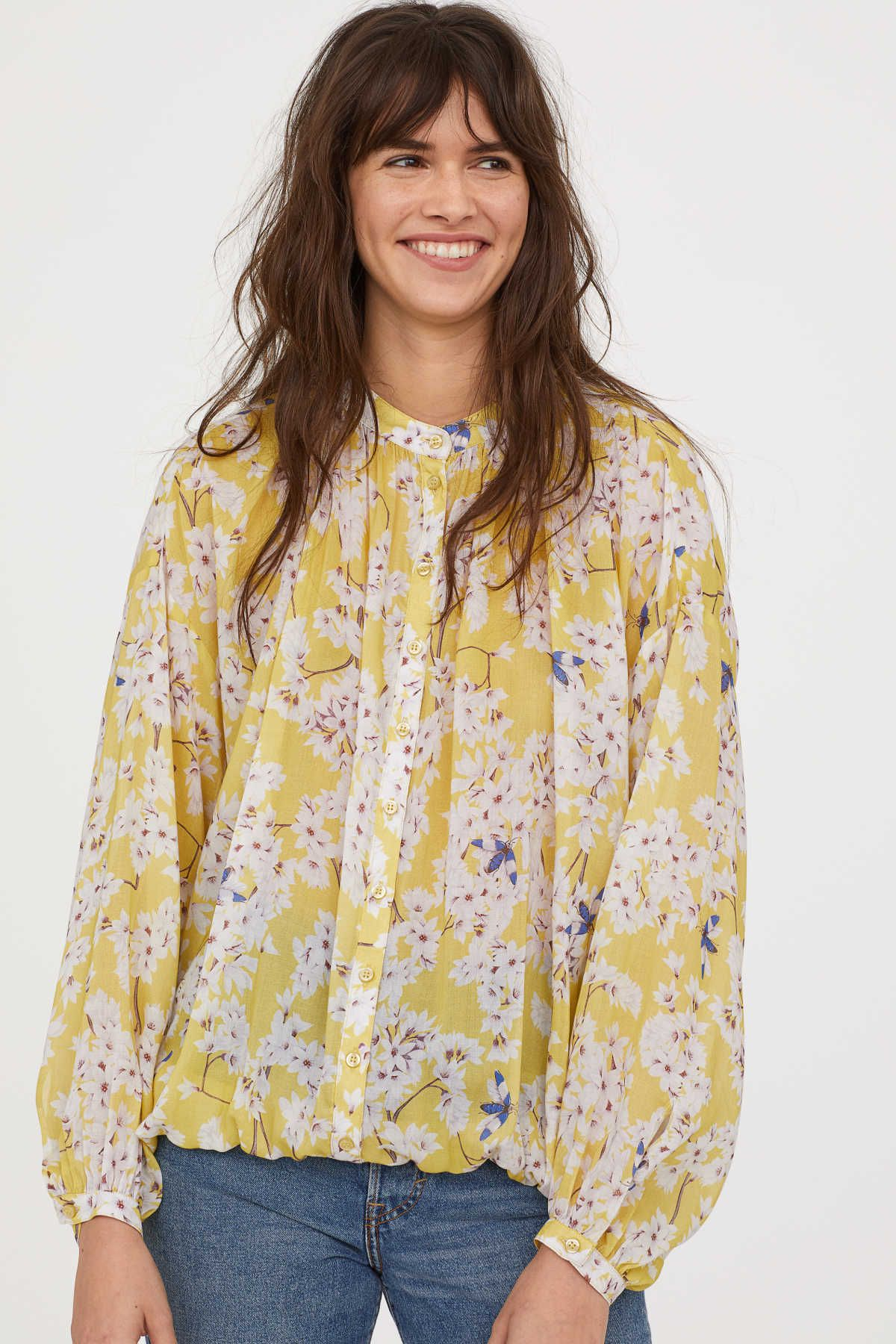 f5c4acb07547c3 Light yellow/floral. ANNA GLOVER x H&M. Patterned blouse in airy, woven  Tencel® lyocell fabric. Small stand-up collar, buttons at front, and dropped
