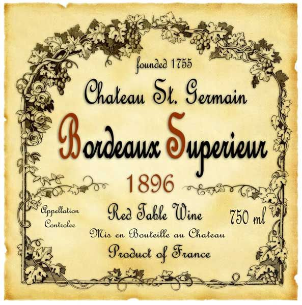 bordeaux superior wine label