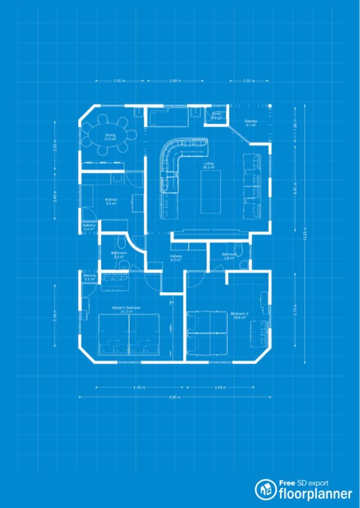 2d Plan With Blueprint Mode Made With Floorplanner Com In 2020 Floor Plans Create Floor Plan Blueprints
