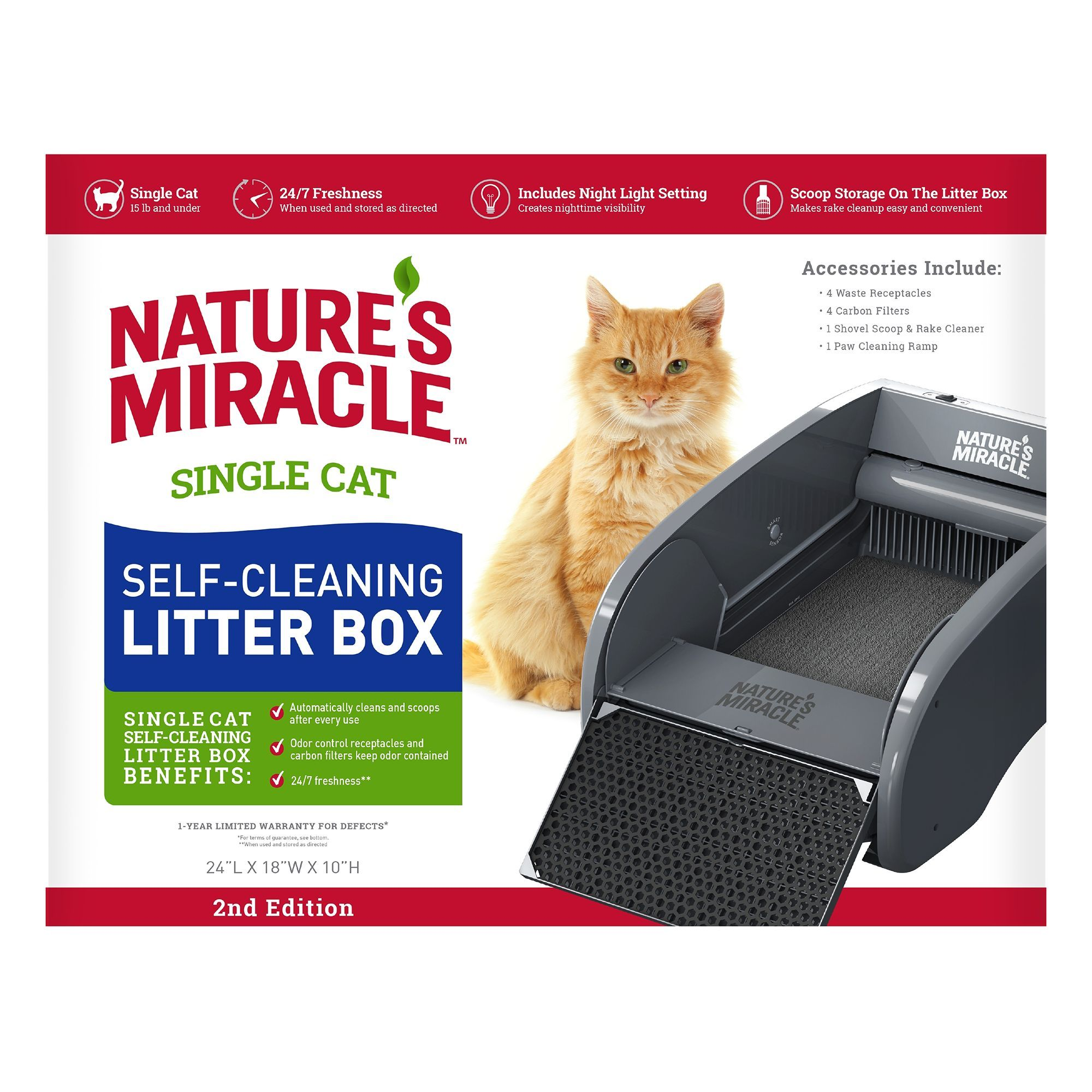 Nature S Miracle Single Cat Self Cleaning Litter Box Carbon Night Self Cleaning Litter Box Cleaning Litter Box Litter Box