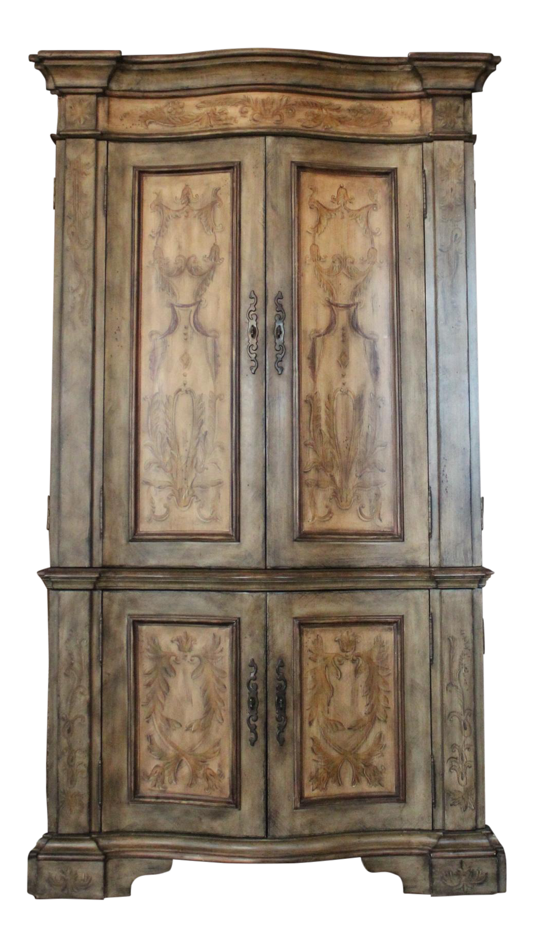 Hand Painted And Hand Carved Armoire. Top Part Available For TV Space, And  Bottom