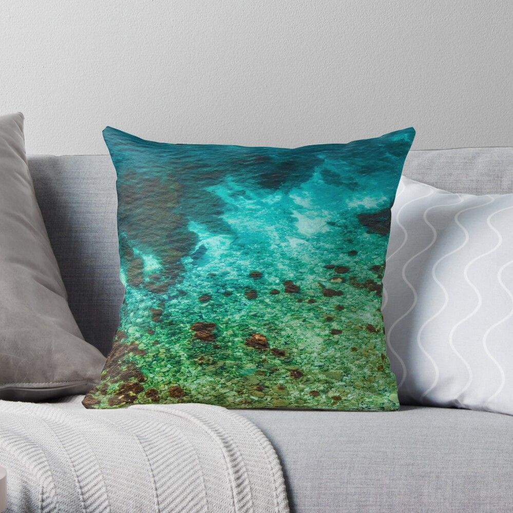 Coastal Rocky Shoreline View From Above Throw Pillow By Vienewi Throw Pillows Designer Throw Pillows Pillows
