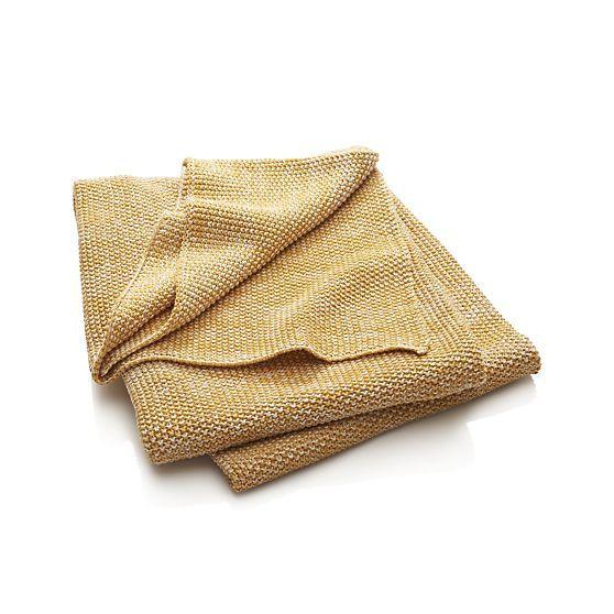 Finola Gold Throw Crate And Barrel Soft Cotton Yellowy Coziness