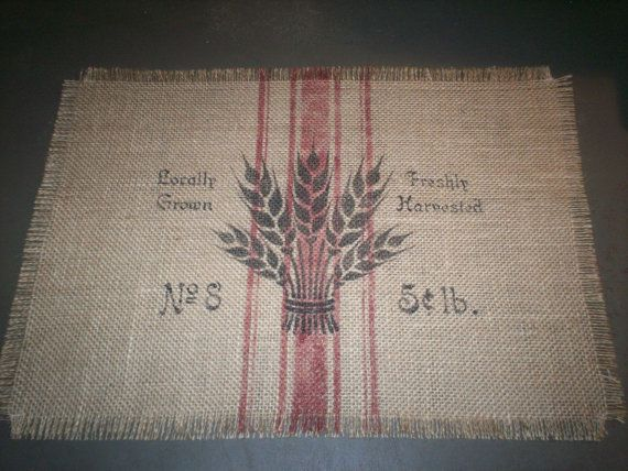 "Country Cottage 18.5""x13"" Sheaf of Wheat Feedsack Burlap Placemat"