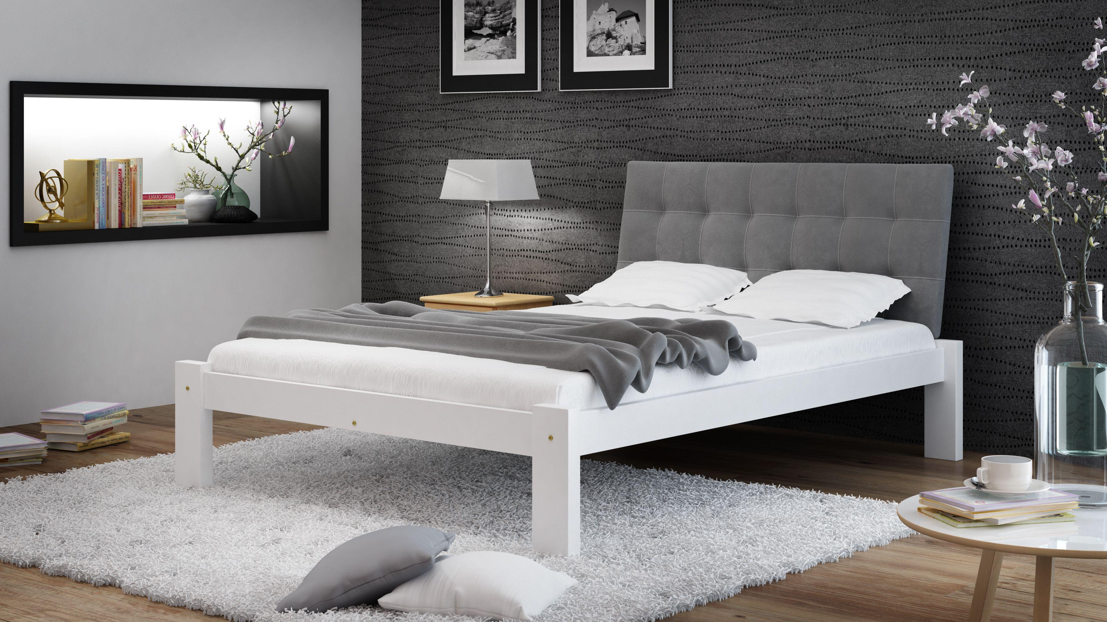 Weisses Holzbett Mit Grauem Kopfteil Die Minimalistische Form
