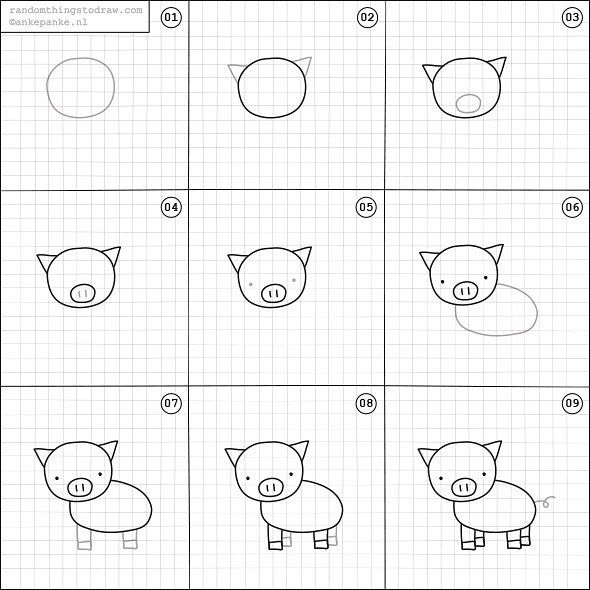 How To Draw A Piglet Easy Drawings Animal Drawings Pig Drawing Easy
