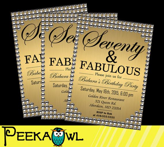 Printable 70th Birthday Invitation Card Seventy And By Peekaowl