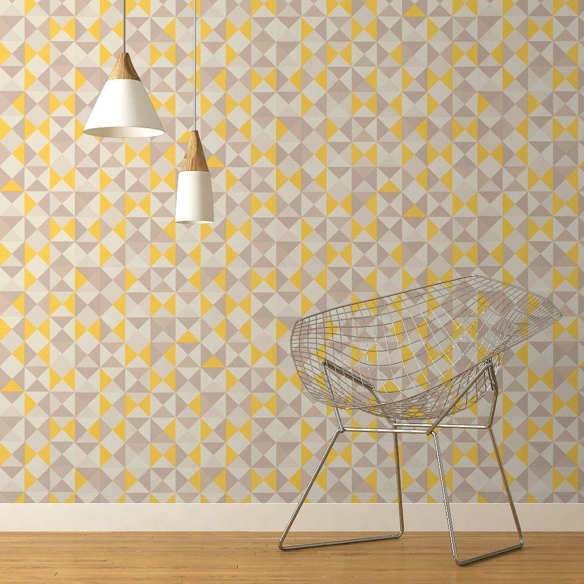 Papier Peint ACAPULCO, Vinyle Sur Intissé Géométrique, Jaune Moutarde    Peintureu2026 Bonnes Idees