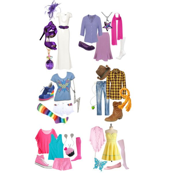 Mane Six, 6 outfits inspired by My Little Pony: Friendship is Magic. My personal favourites here are Fluttershy and Rainbow Dash (the Wonder Woman tee feels strangely appropriate), and I'm thinking the Pinkie Pie outfit would be great for just having fun out in the sun. :)