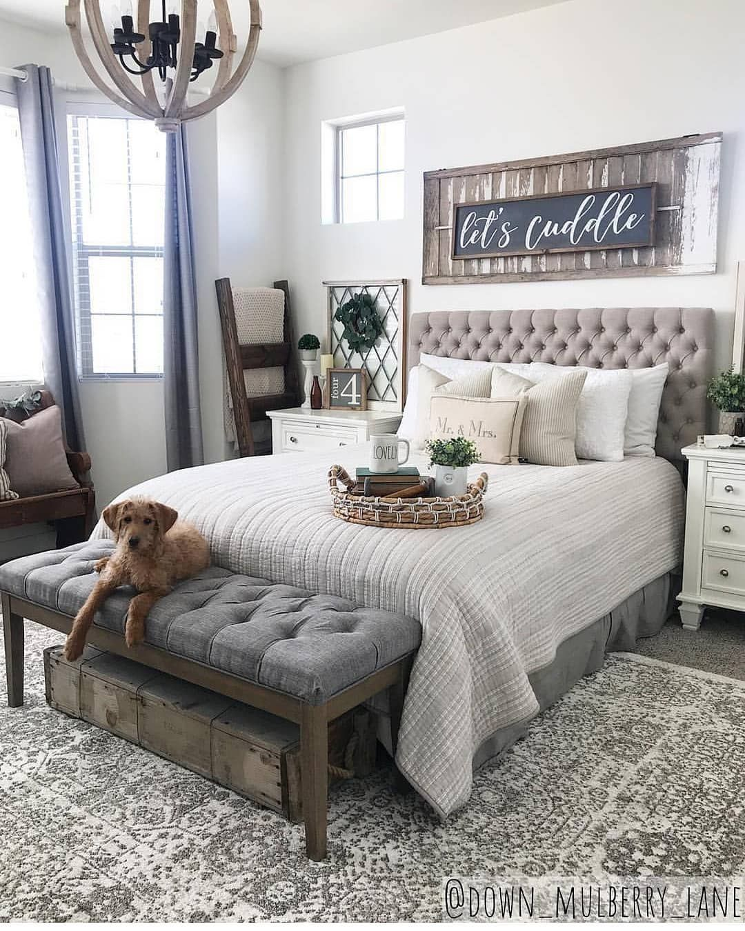 9 Farmhouse Rustic Master Bedroom Ideas - ABCHOMY  Rustic master
