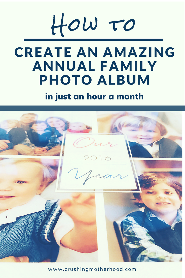 Step-by-step to easily create an annual family photo album in just an hour a month. Capture an entire year of memories that would otherwise be forgotten. | #photoalbum #shutterfly #crushingmotherhood via @crushingmotherhood