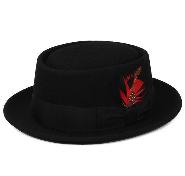 Pork Pie Hat australiano 100% de fieltro de lana sombreros fedora para  mujeres hombres flat top vintage para mujer de moda Cloche sombreros negro  vino tinto 1c6a66a886f